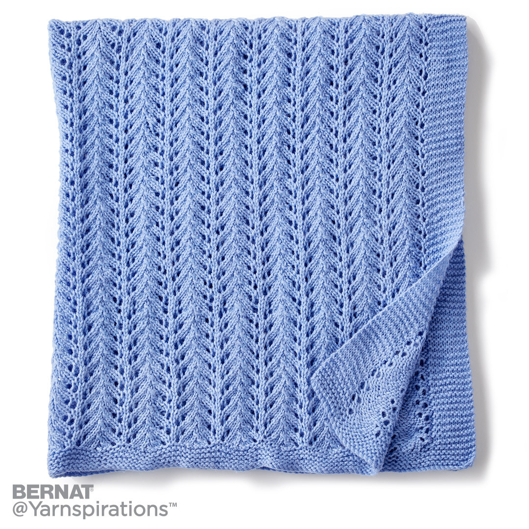 Bernat Baby Blanket Knitting Patterns : Bernat Lacy Knit Baby Blanket, Knit Pattern Yarnspirations