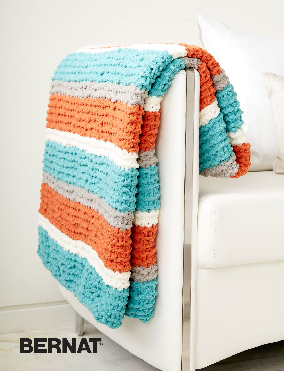 Bernat Baby Blanket Knitting Patterns : Bernat Get Fresh Throw, Knit Pattern Yarnspirations