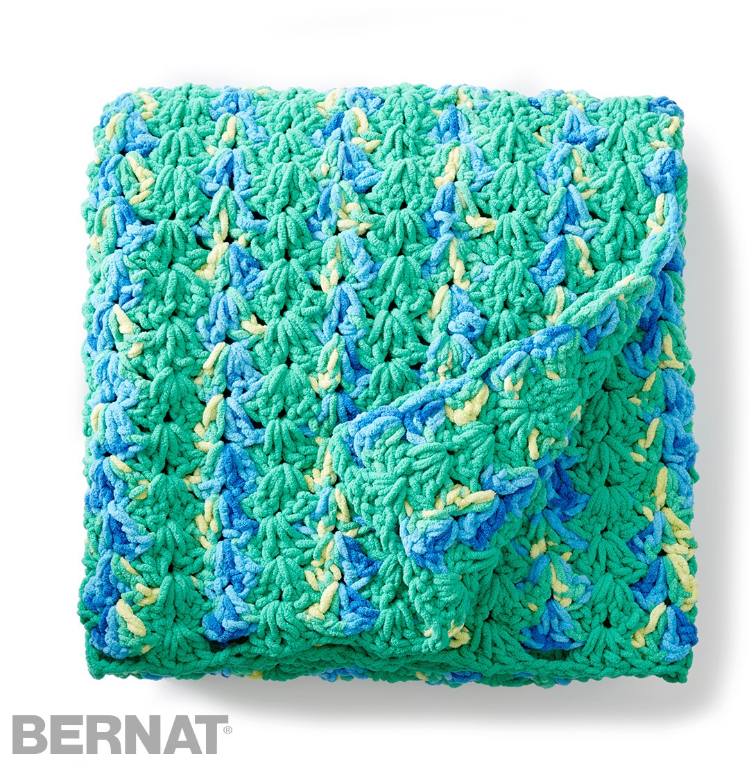 Crochet Patterns Using Bernat Home Bundle : Bernat Bright and Easy Crochet Blanket, Crochet Pattern ...