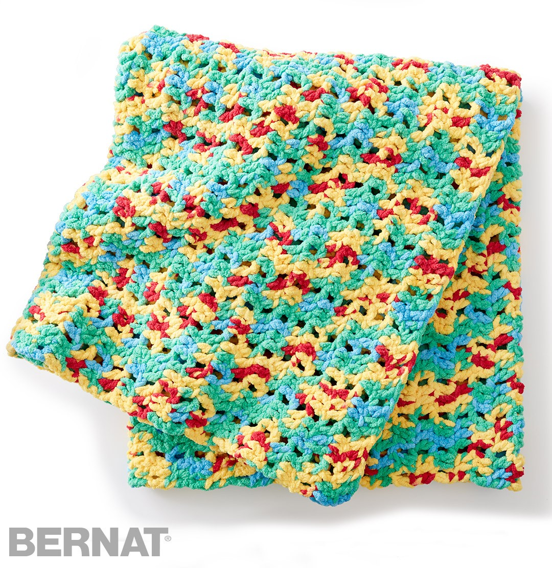 Crochet Patterns Using Bernat Blanket Yarn : Bernat Bright Beginnings Crochet Blanket, Crochet Pattern ...