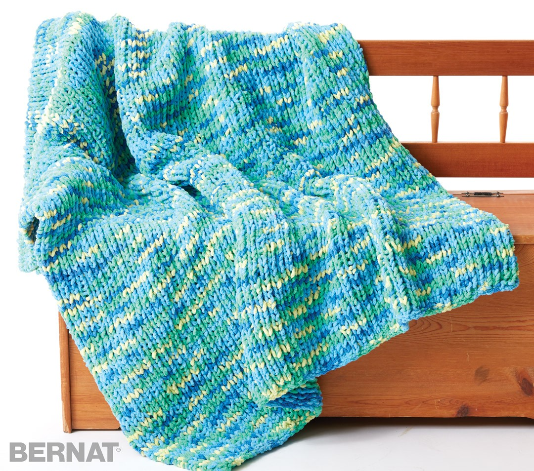 Knitting Patterns Bernat Blanket Yarn : Bernat Supersquish Knit Blanket, Knit Pattern Yarnspirations
