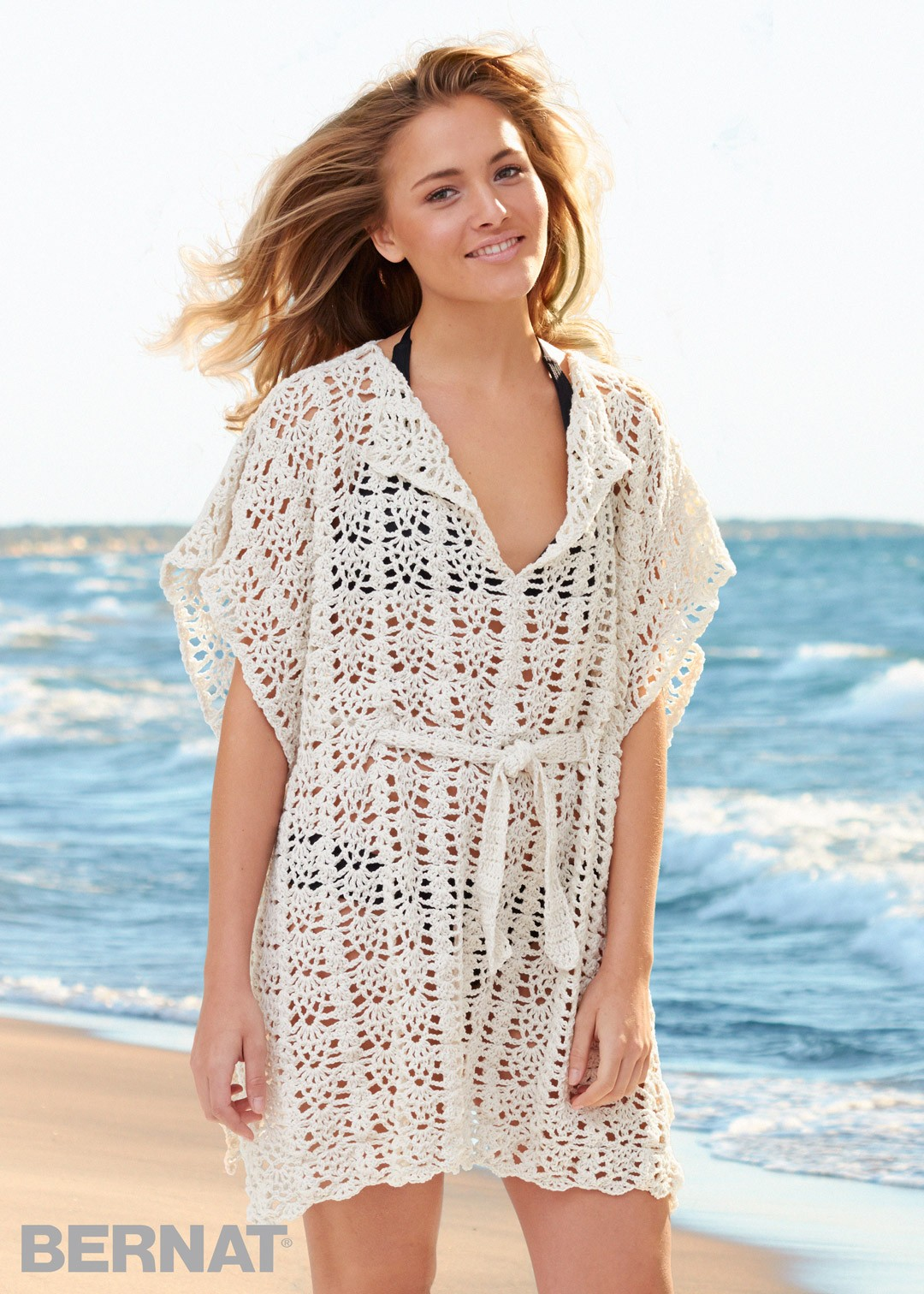 Bernat beach cover up crochet pattern yarnspirations beach cover up bankloansurffo Gallery