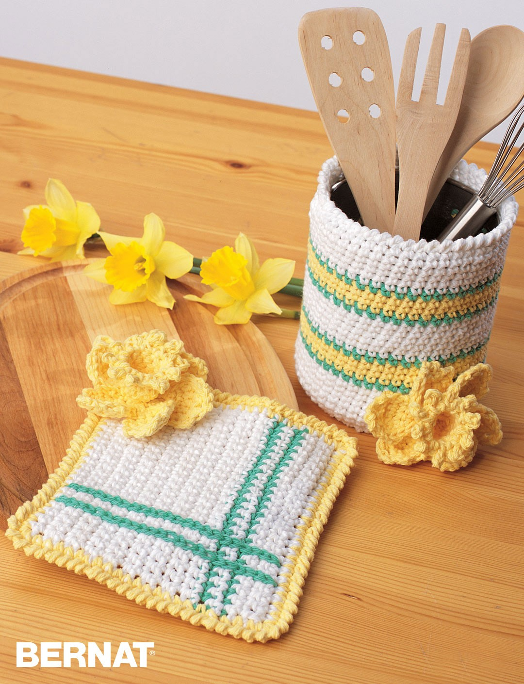 Free Crochet Patterns Kitchen Accessories : Bernat Springtime Crochet Kitchen Accessories, Crochet ...