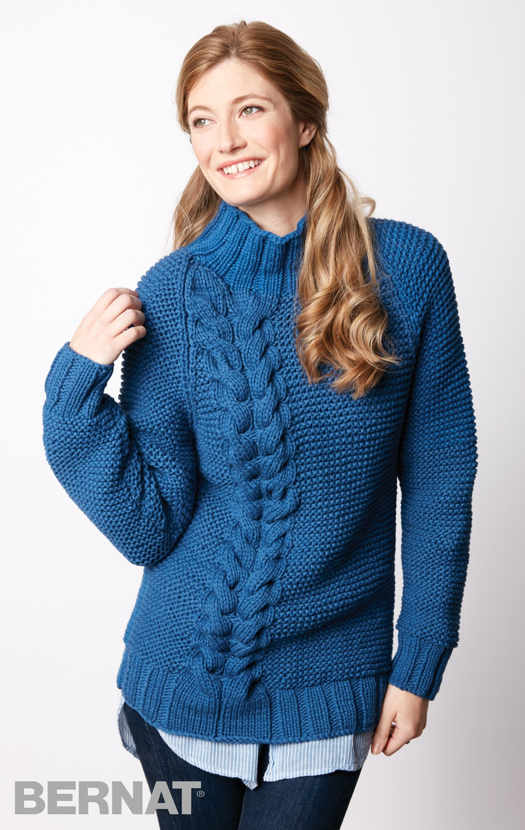 Free Pullover Knitting Patterns : Bernat Bright Side Knit Pullover, Knit Pattern Yarnspirations
