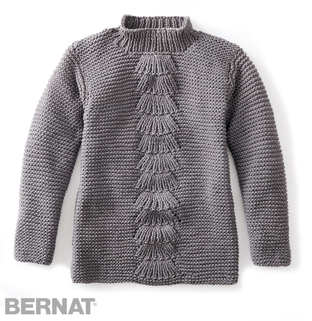 Bernat Center Fan Knit Pullover, Knit Pattern Yarnspirations