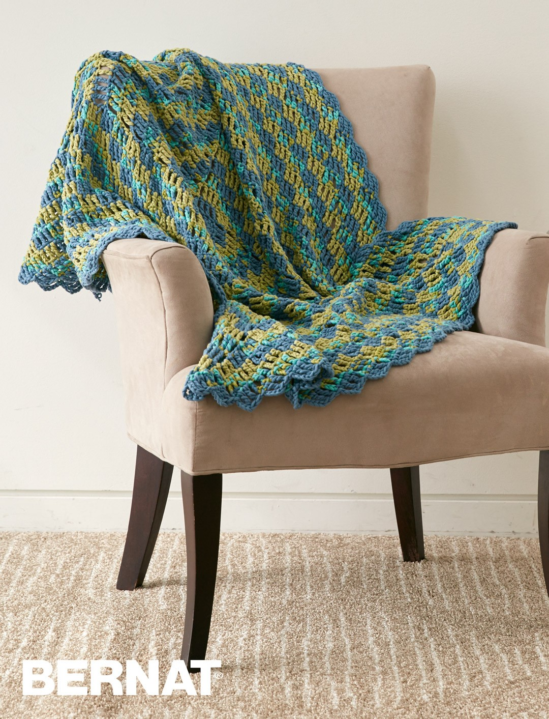 Bernat Round The Block Afghan Crochet Pattern