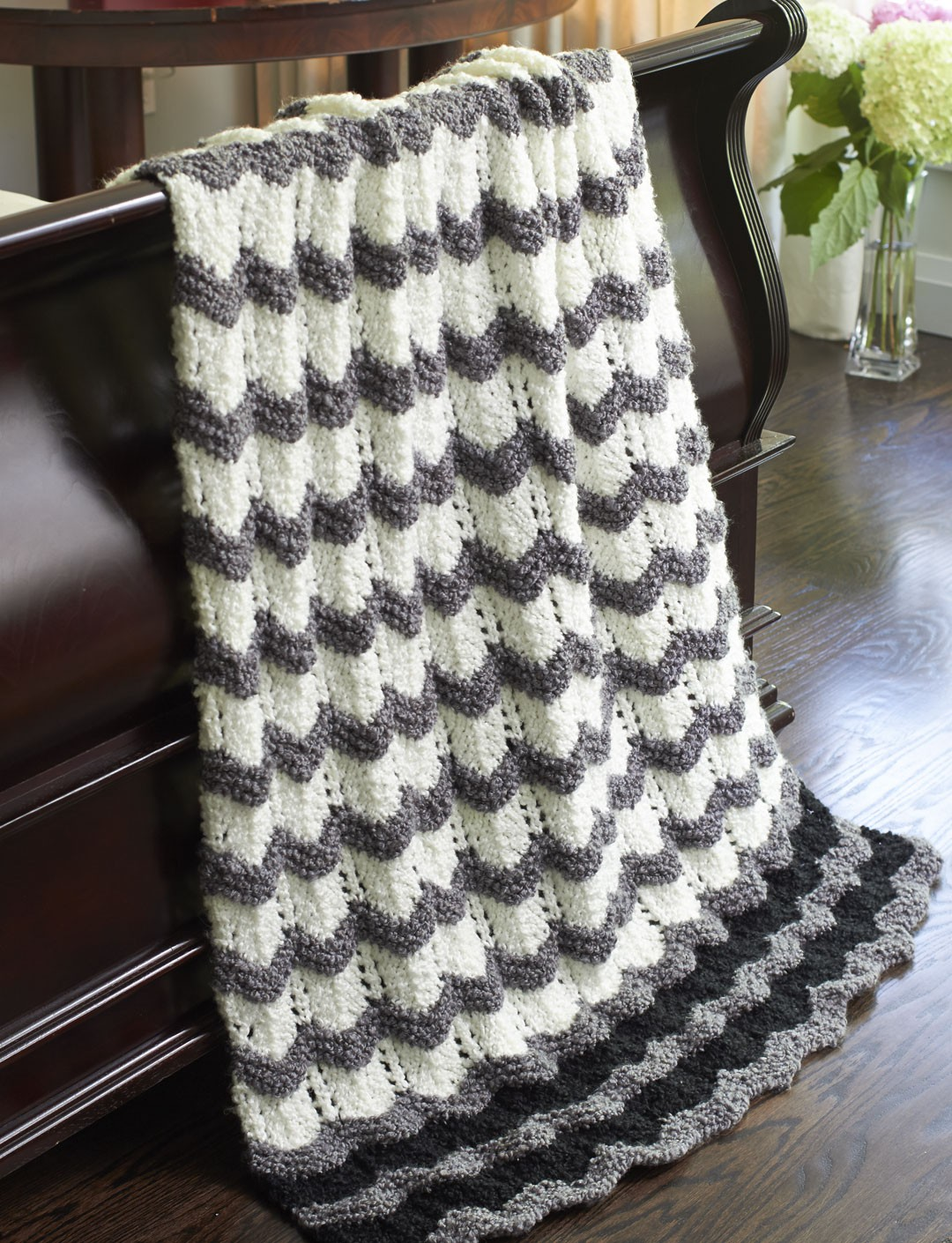 Knitting Pattern For Ripple Afghan : Bernat Stones Throw Ripple, Knit Pattern Yarnspirations