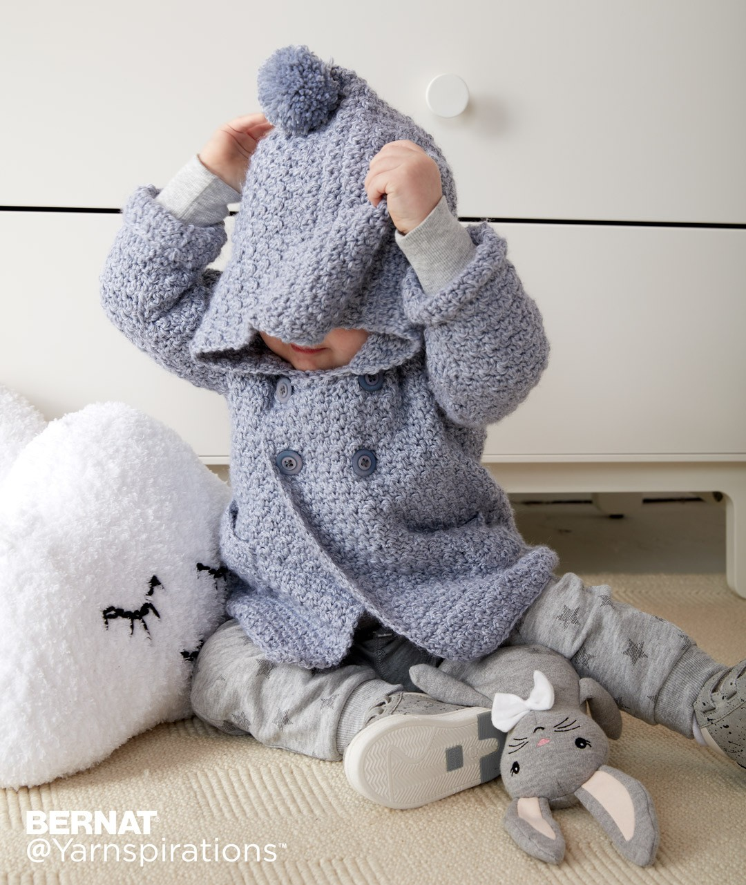 Baby sweater crochet patterns yarnspirations cozy crochet hoodie bankloansurffo Image collections