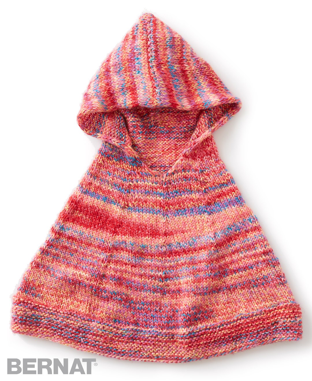 Bernat Knitting Patterns Free : Bernat Reach For The Rainbow Knit Poncho, Knit Pattern Yarnspirations