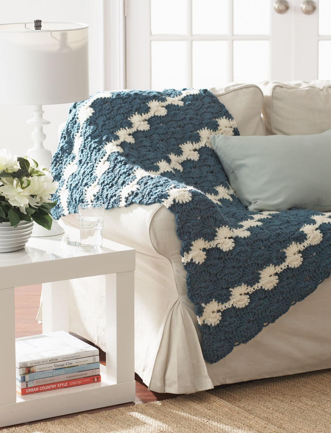 Free Crochet Pattern Lap Blanket : Bernat Gentle Waves Lap Blanket, Crochet Pattern ...
