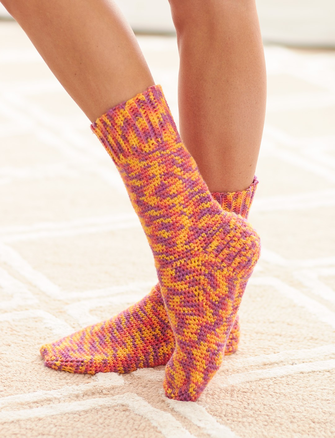 Free Crochet Patterns Socks : Bernat Basic Socks, Crochet Pattern Yarnspirations