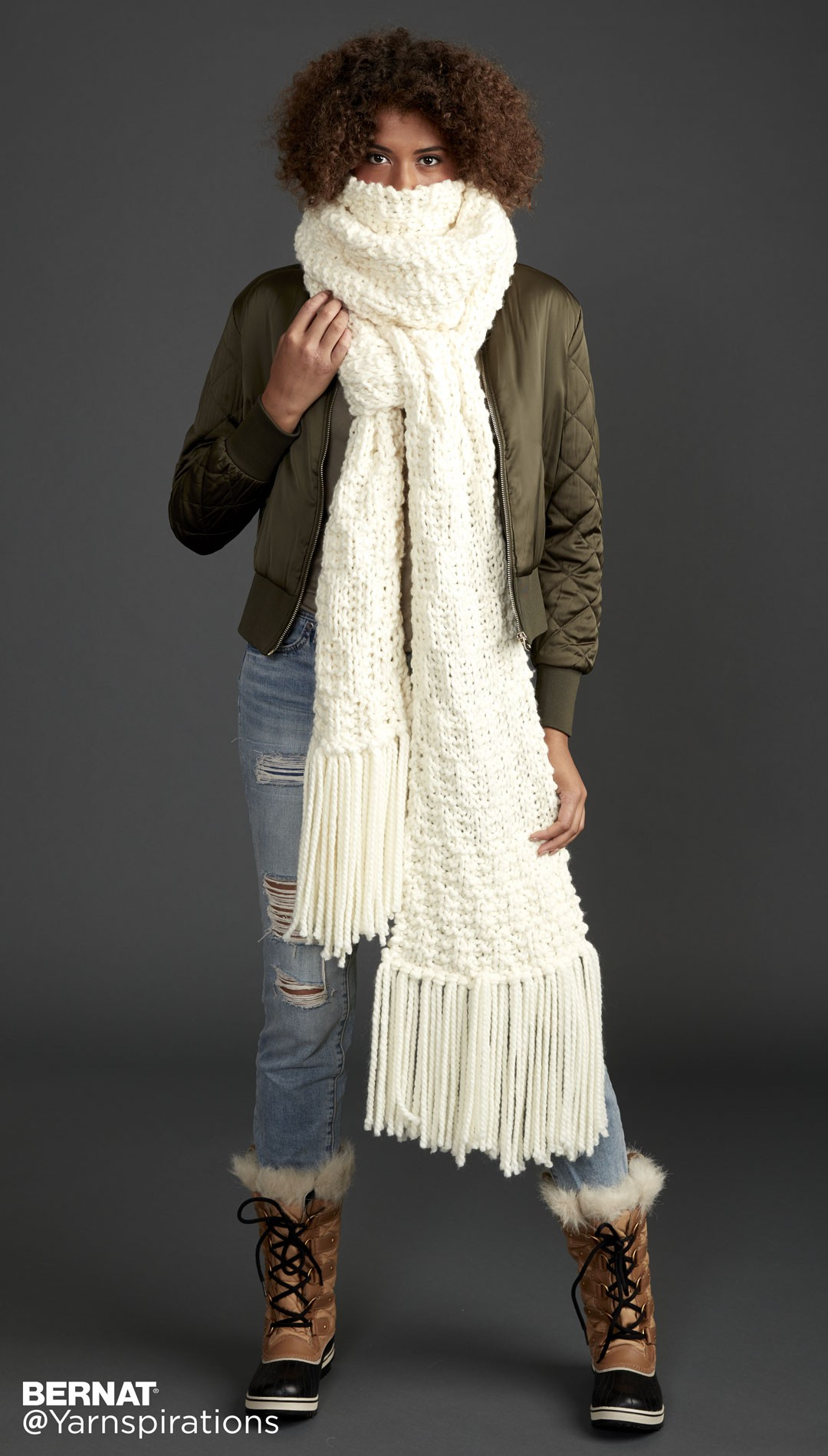 Bernat Rib Check Knit Super Scarf, Knit Pattern Yarnspirations