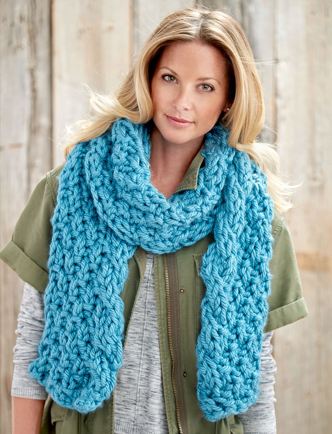 Crochet Shawl Patterns With Bulky Yarn : Bernat Cable Edge Scarf, Knit Pattern Yarnspirations