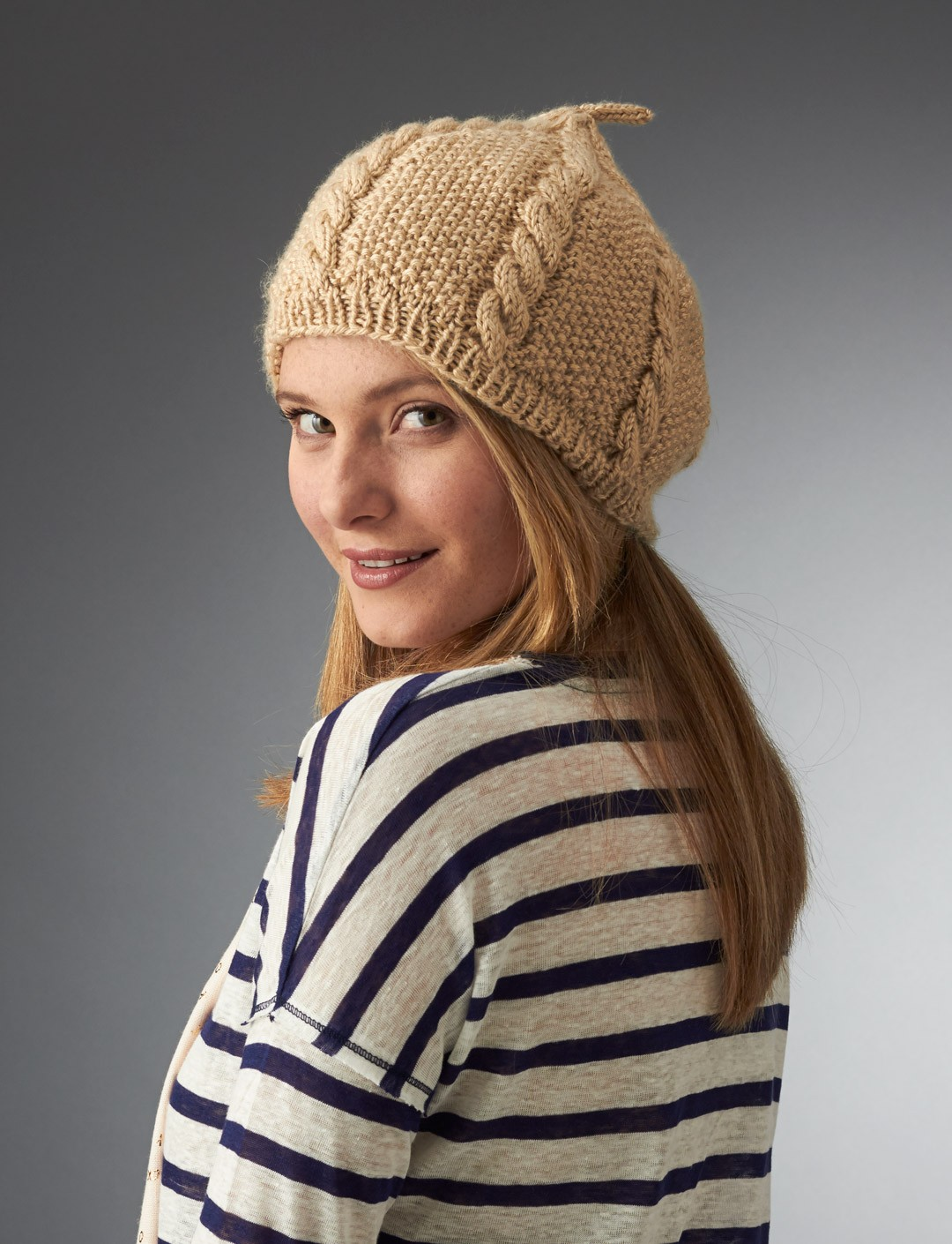 Caron Cabled Beret, Knit Pattern Yarnspirations