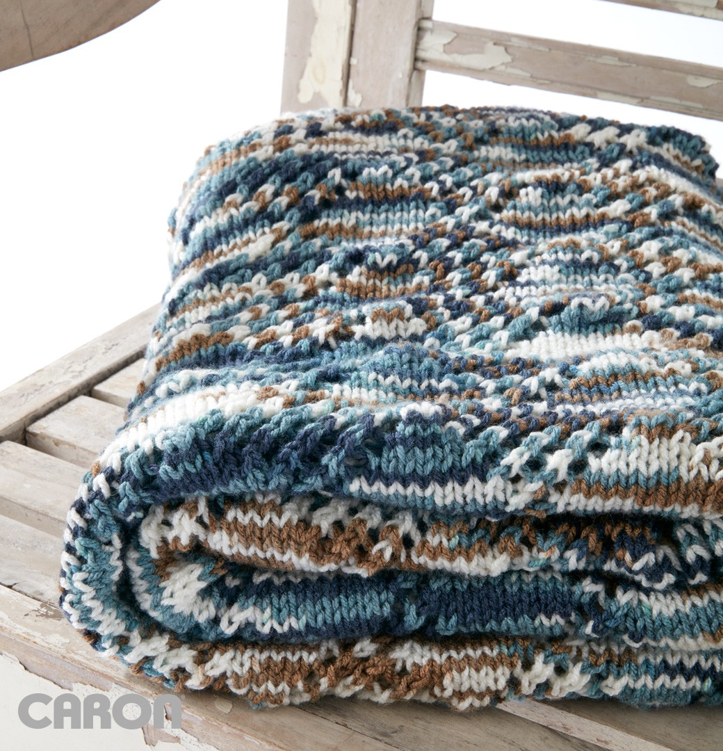 Knitted Blankets And Throws Patterns : Caron Crystal Lace Blanket, Knit Pattern Yarnspirations