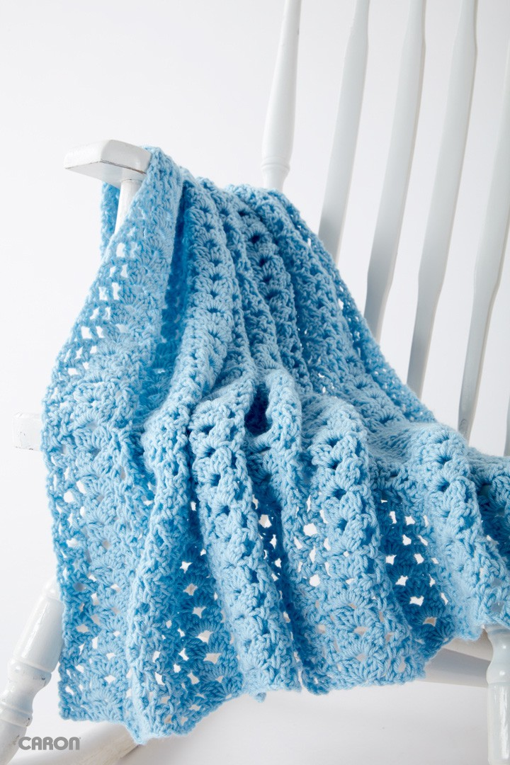 Caron Crochet Baby Blanket Pattern : Caron Cluster Waves Blanket, Crochet Pattern Yarnspirations
