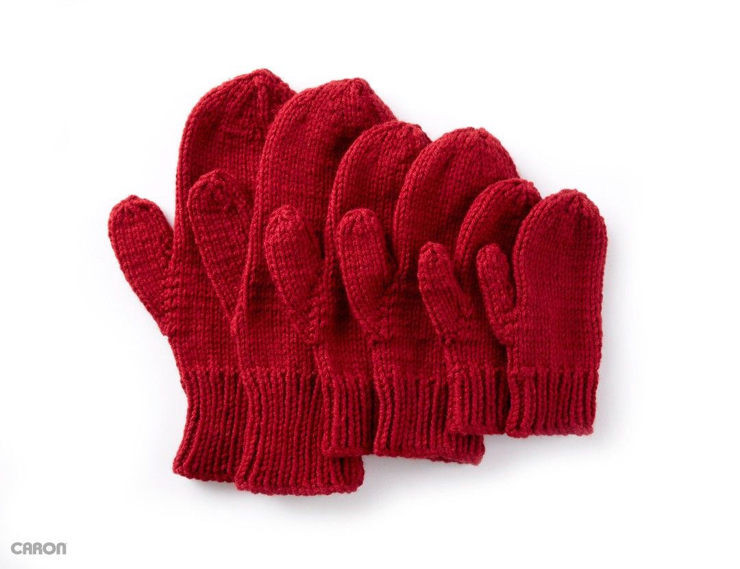 Caron Basic Family Knit Mittens, Knit Pattern Yarnspirations