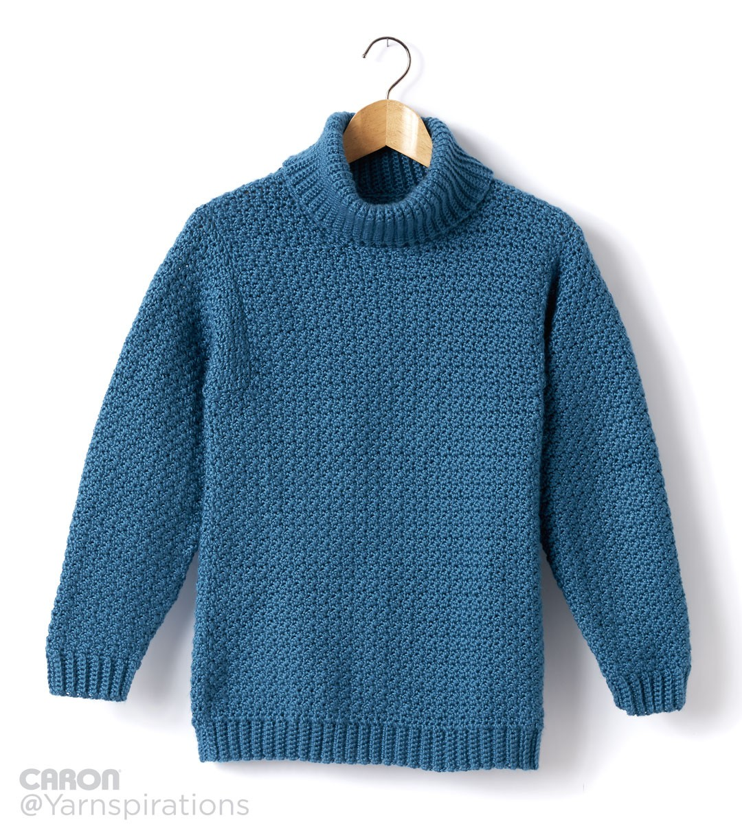 Adult Crochet Turtleneck Pullover