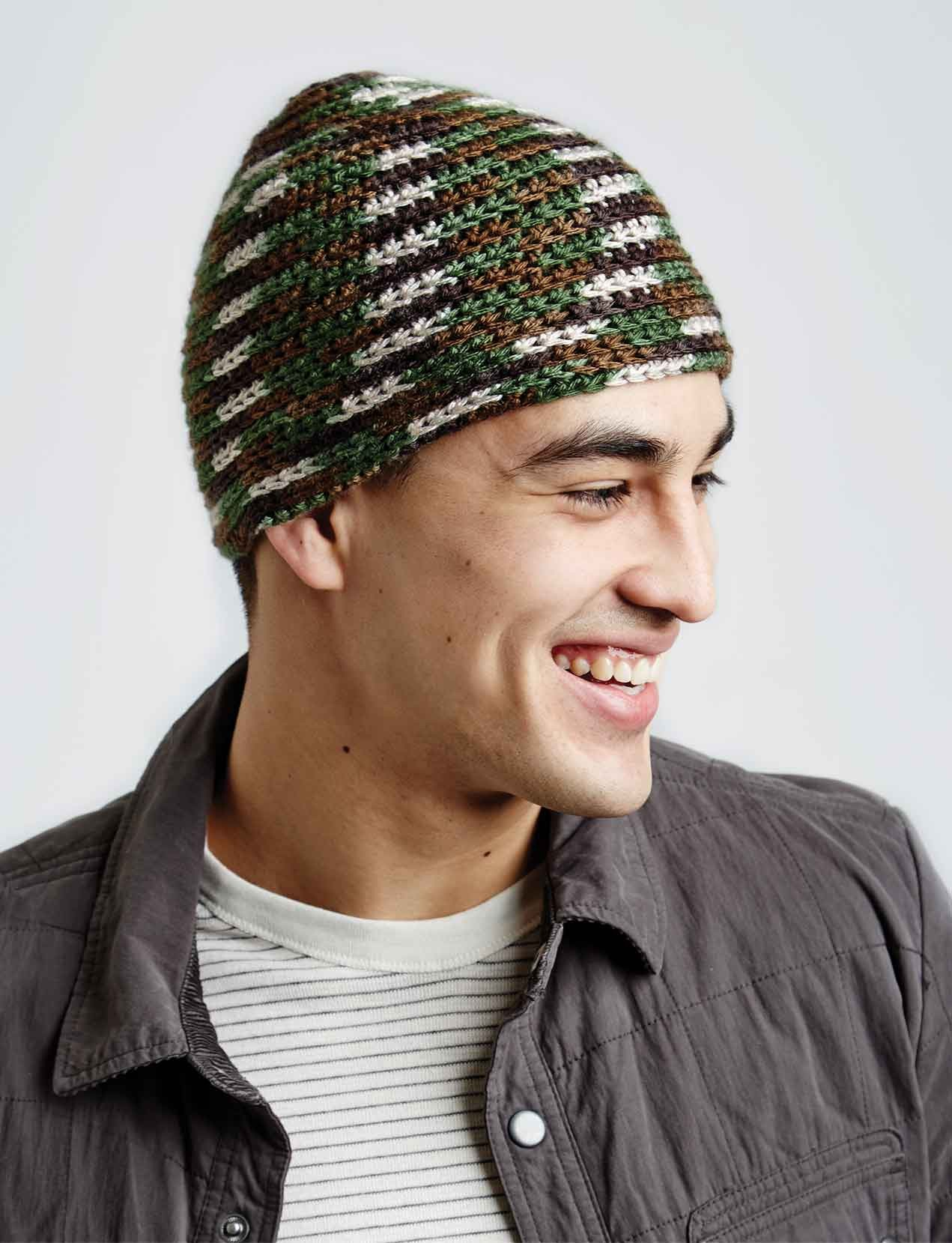Mens hat crochet patterns yarnspirations camo hat bankloansurffo Image collections