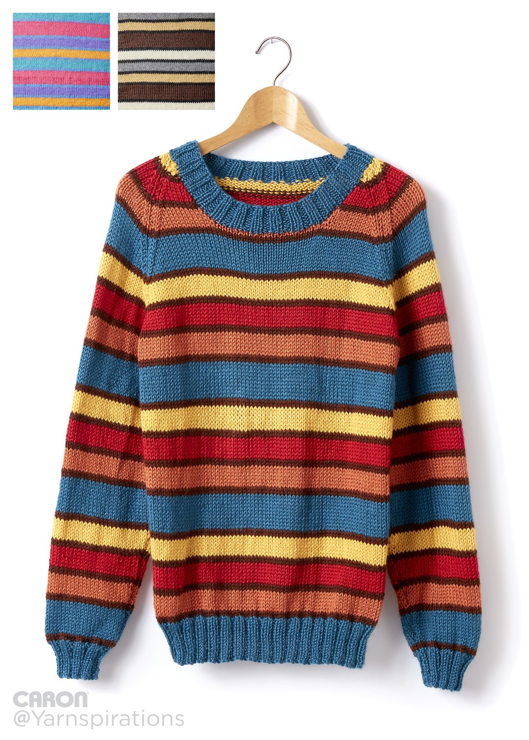 Knitting Pullover Patterns : Caron adult knit crew neck striped pullover pattern