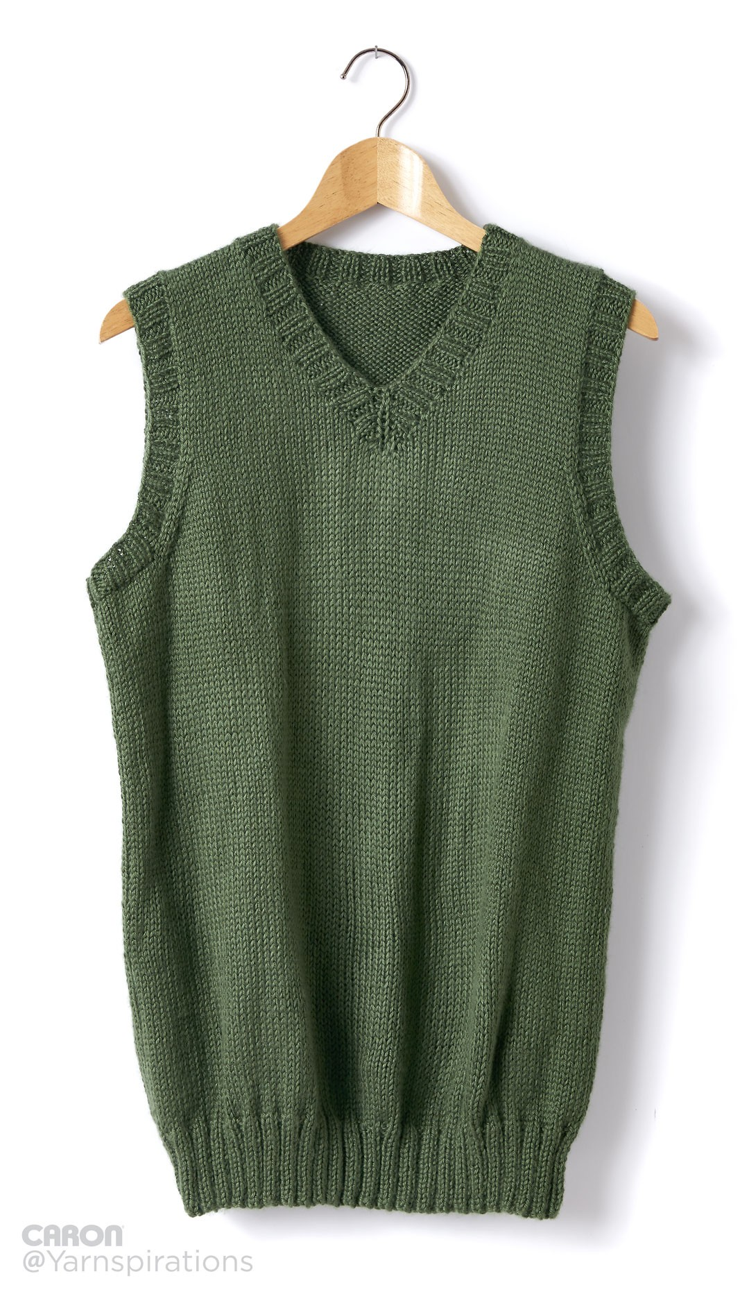 Caron Adult Knit V-Neck Vest, Knit Pattern Yarnspirations
