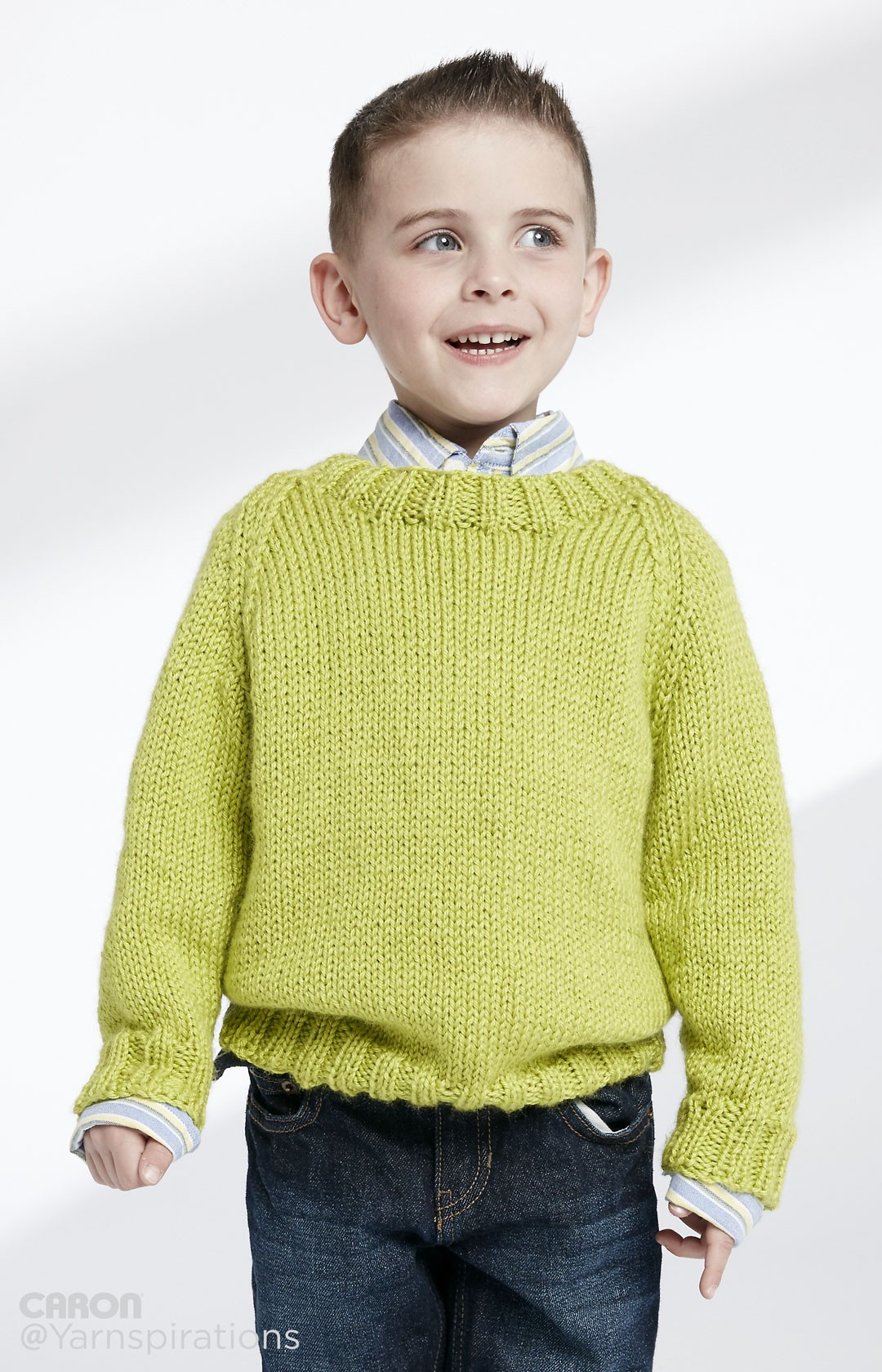 Pullover Knitting Pattern : Caron child s knit crew neck pullover pattern