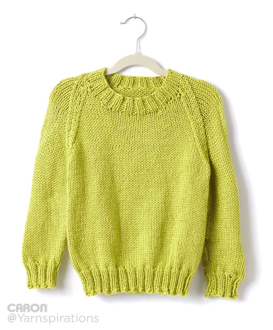 Caron Childs Knit Crew Neck Pullover, Knit Pattern Yarnspirations