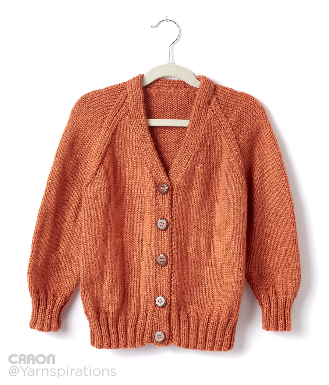 Caron Childs Knit V-Neck Cardigan, Knit Pattern Yarnspirations