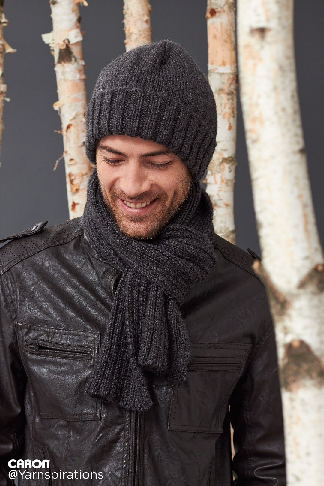 Free Knitting Pattern For Cushion Cover : Caron Mens Basic Hat and Scarf Set, Knit Pattern Yarnspirations