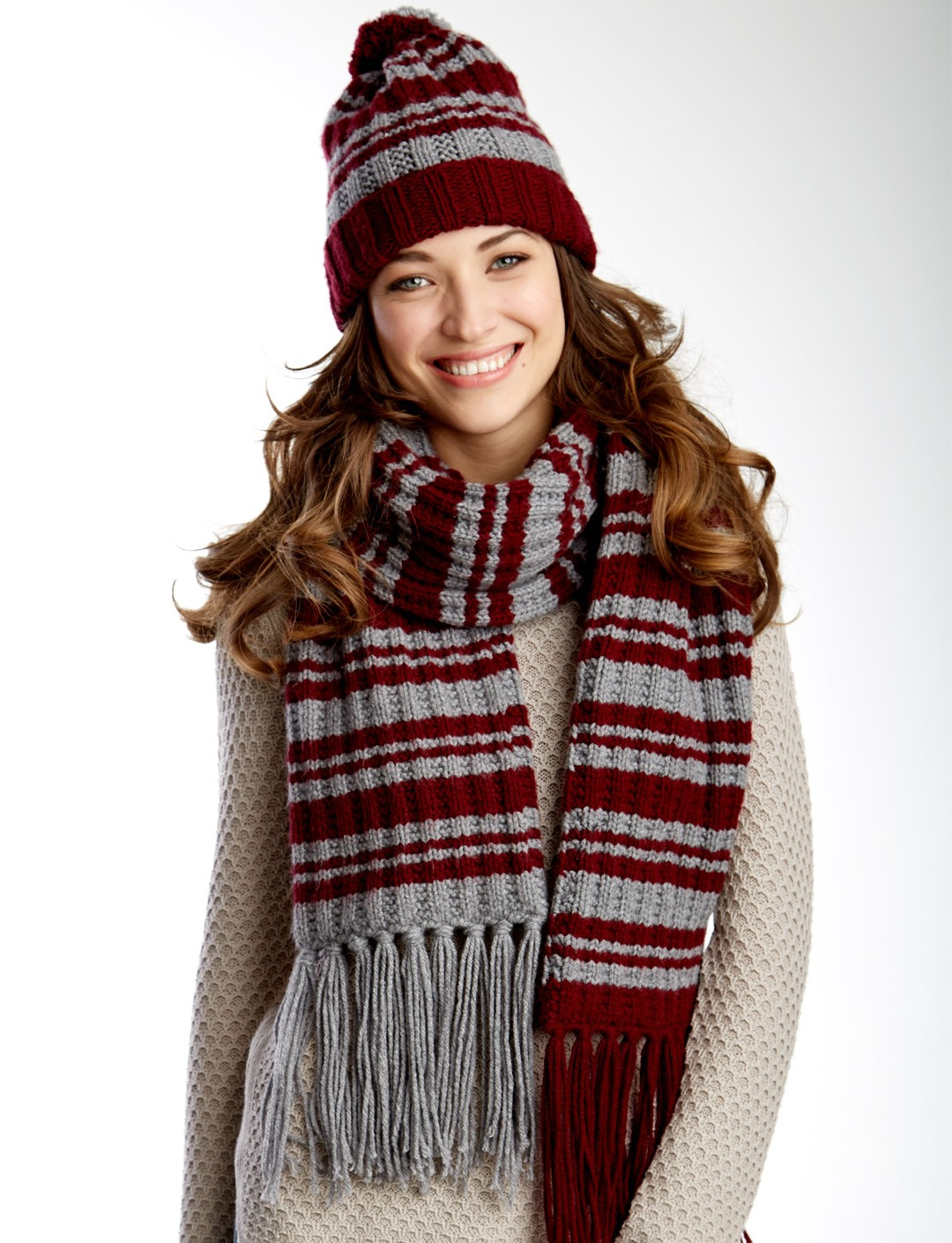 Knit Striped Scarf Pattern : Caron Varsity Stripes Set, Knit Pattern Yarnspirations