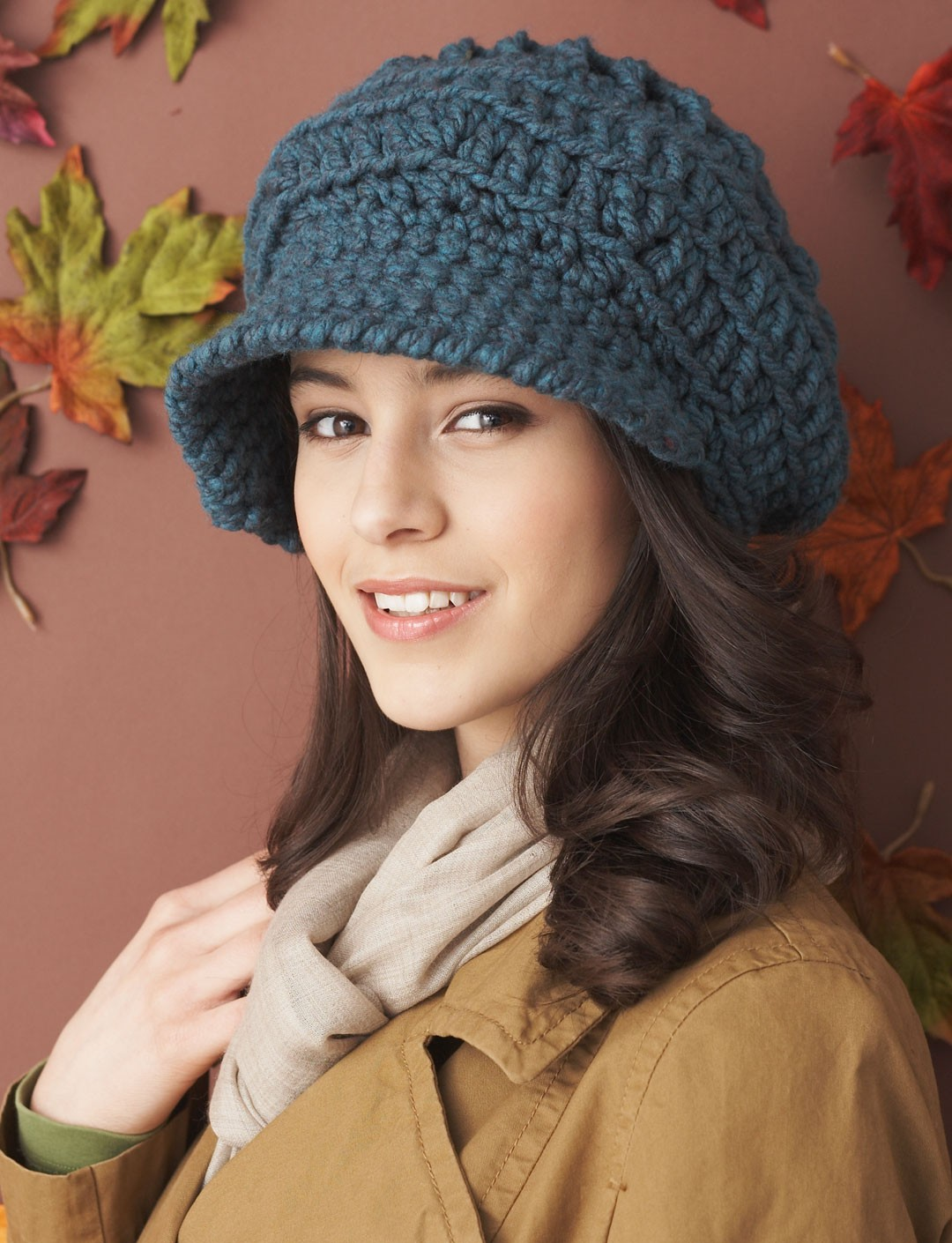 Free Crochet Pattern For Ladies Beanie Hat : Bernat Slouchy Peaked Hat, Crochet Pattern Yarnspirations