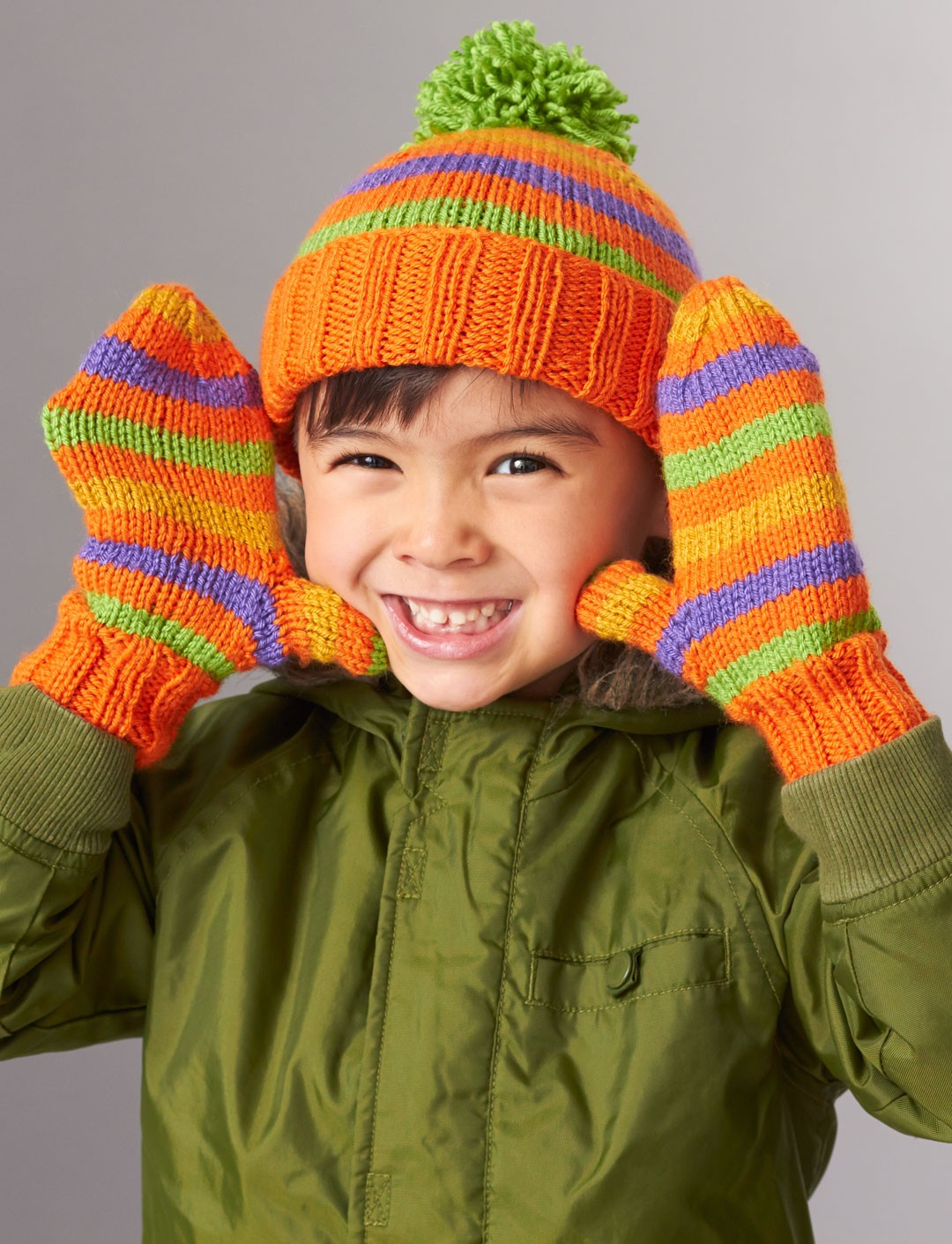 Free Knitting Patterns For Hats In The Round : Patons Striped Basic Hat and Mittens 4 Needles, Knit Pattern Yarnspirations
