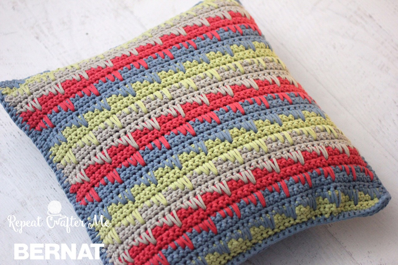 Reversible Spike Stitch Pillow Cover