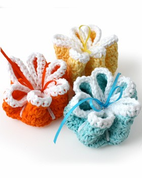Ribbon Flowers Dishcloths
