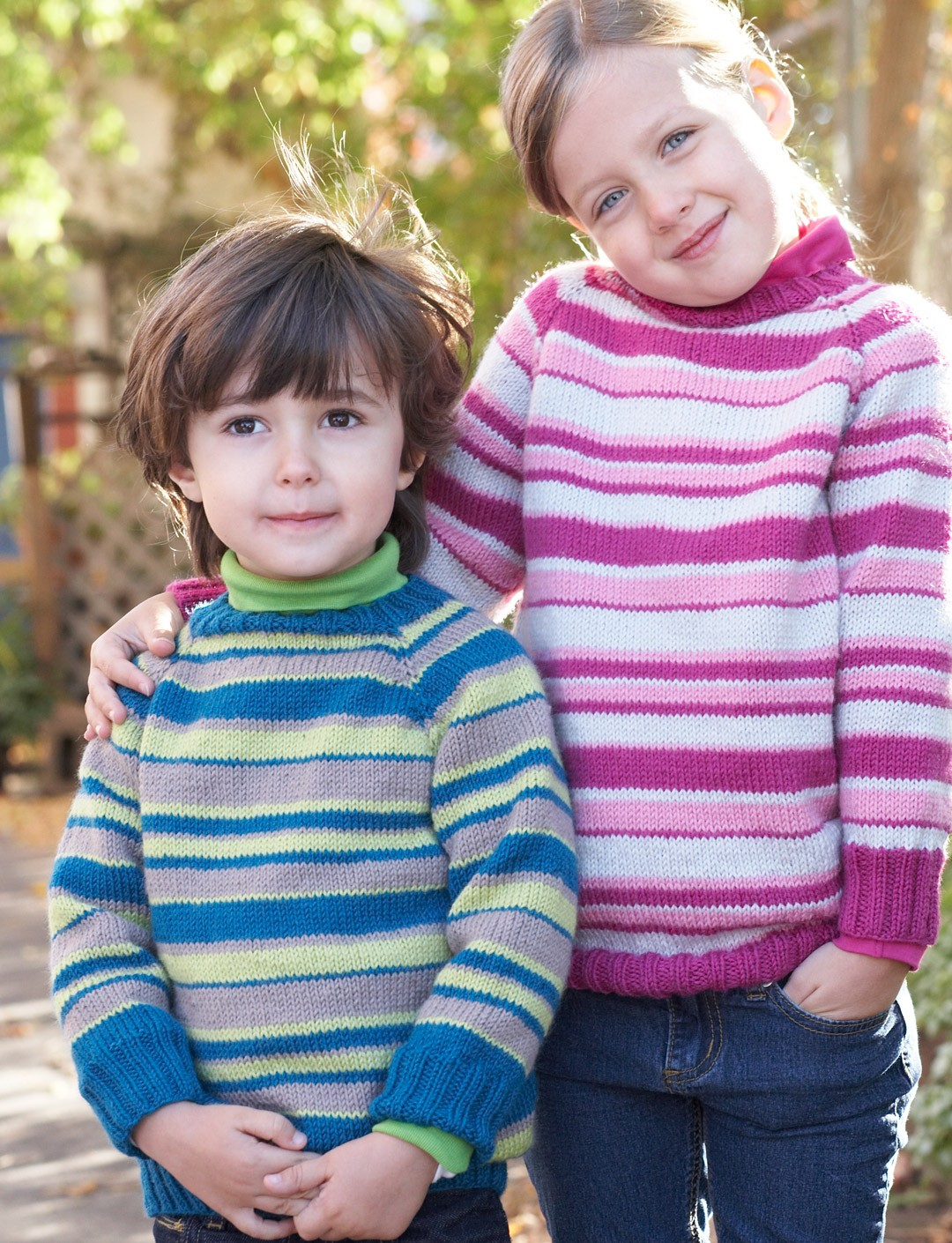 Knitting Patterns For Sweaters For Toddlers : Patons Kids Top-Down Striped Sweater, Knit Pattern ...