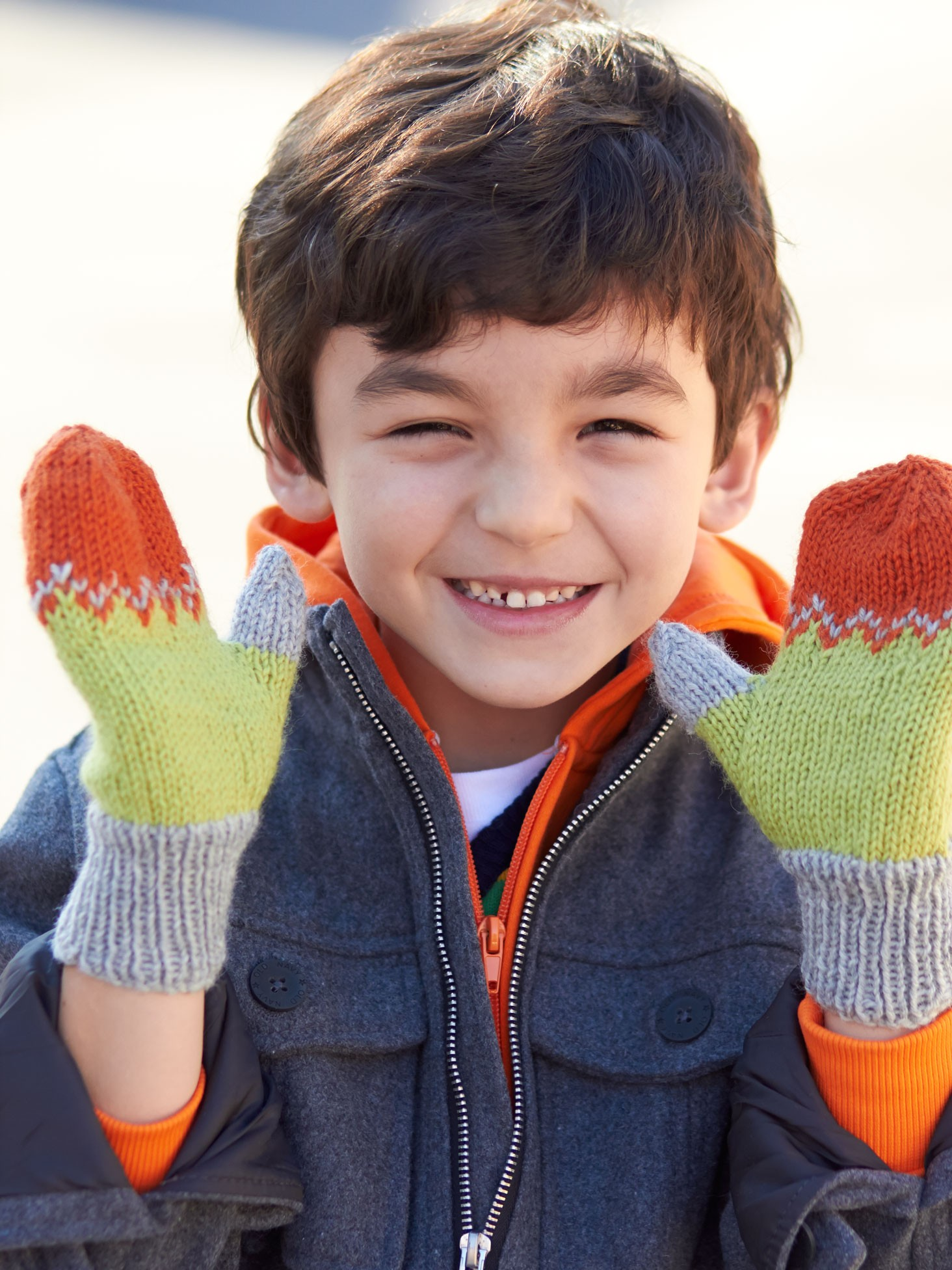 Knitting Pattern Gloves Child : Patons Kids Tri-Color Mittens, Knit Pattern Yarnspirations