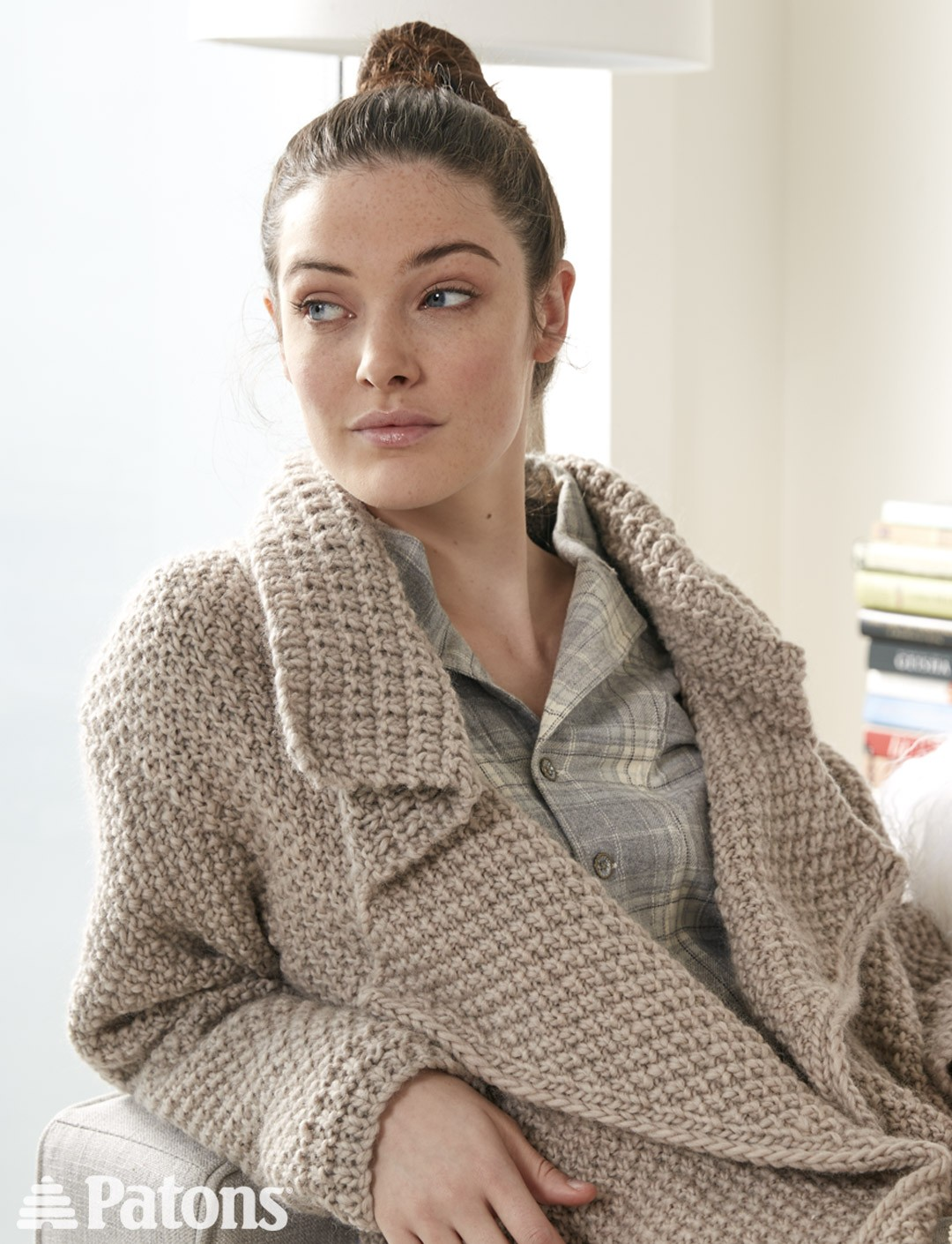Amazing Knitting Patterns : Patons Lapel Cardigan, Knit Pattern Yarnspirations