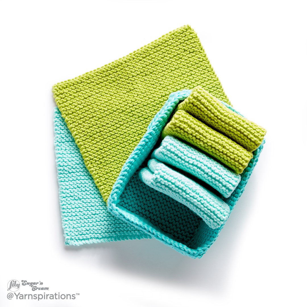 Tidy Up Knit Dishcloth and Basket