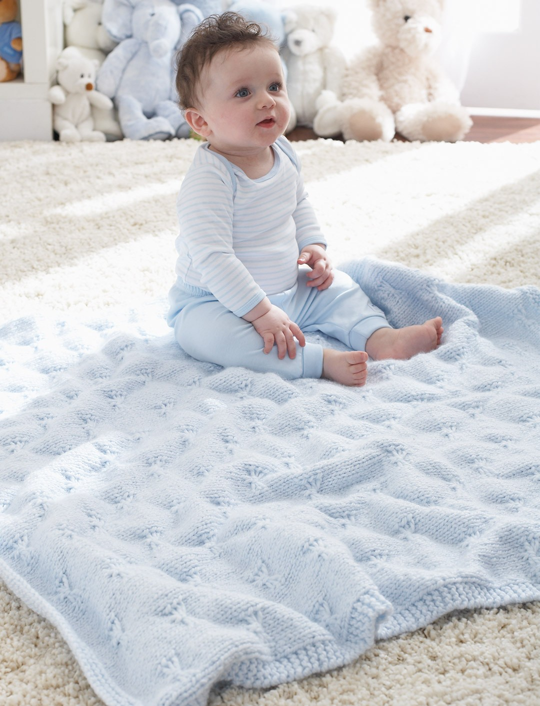 Butterfly Baby Blanket Knitting Pattern : Patons Little Butterfly Baby Blanket, Knit Pattern Yarnspirations