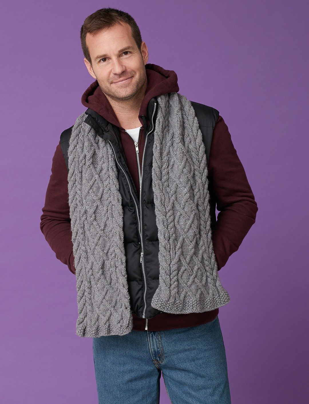 Mens Knit Patterns : Caron Mens Cabled Scarf, Knit Pattern Yarnspirations