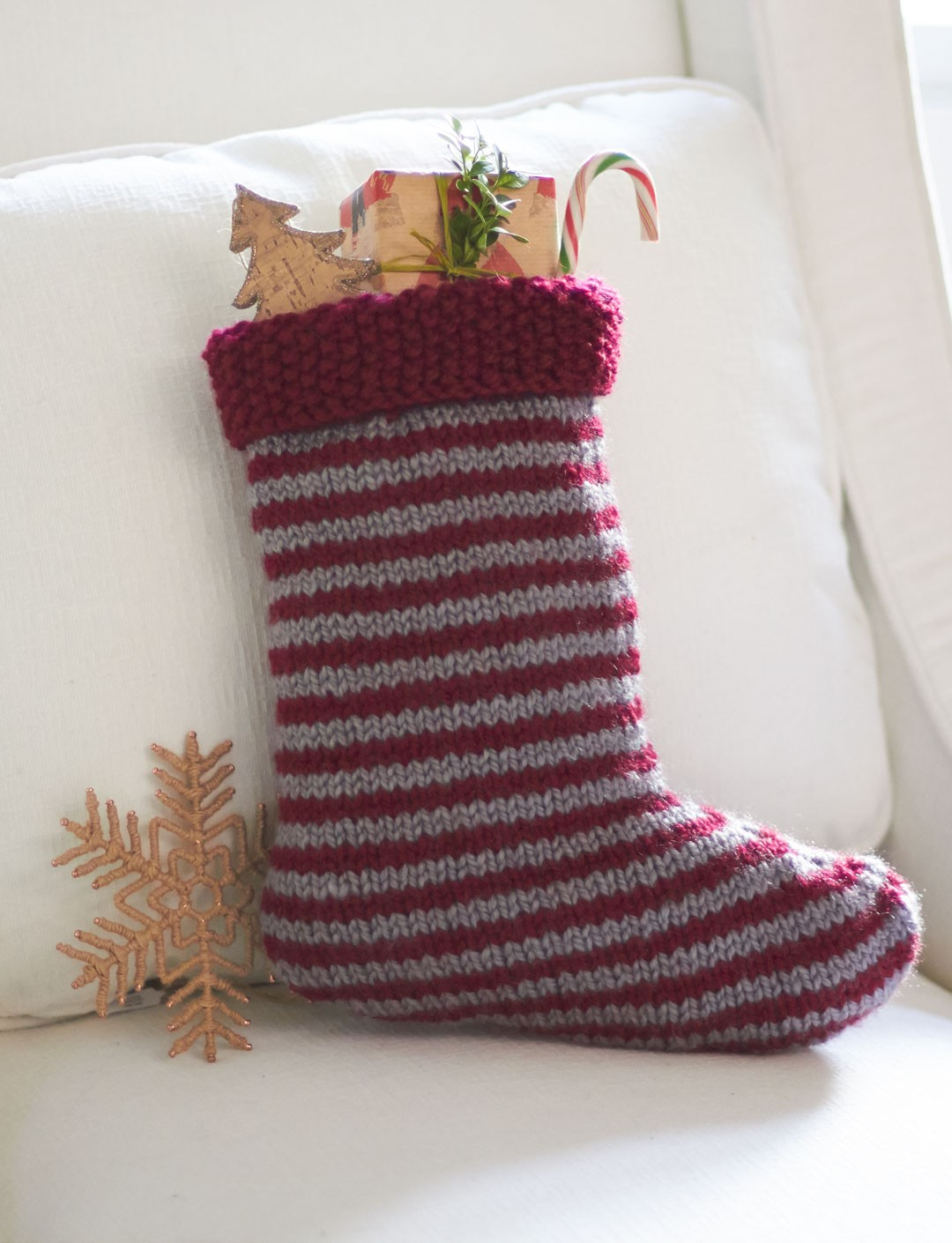 Knit Christmas Stocking Pattern Free : Patons Striped Stocking, Knit Pattern Yarnspirations
