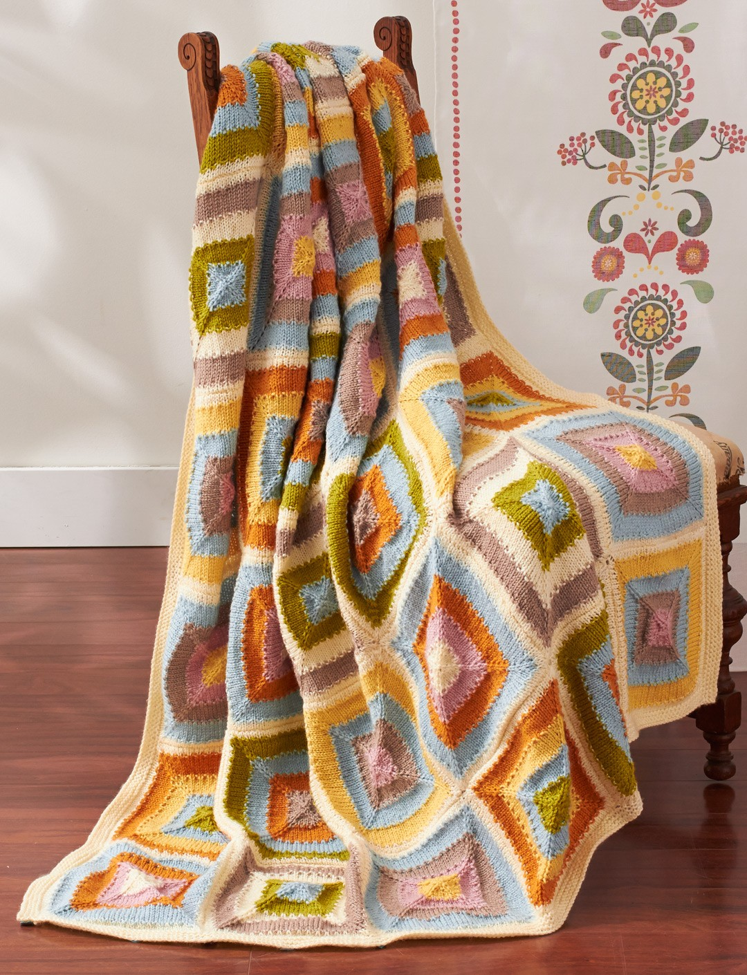 Free Knitting Pattern For Patchwork Quilt : Patons Patchwork Blanket, Knit Pattern Yarnspirations
