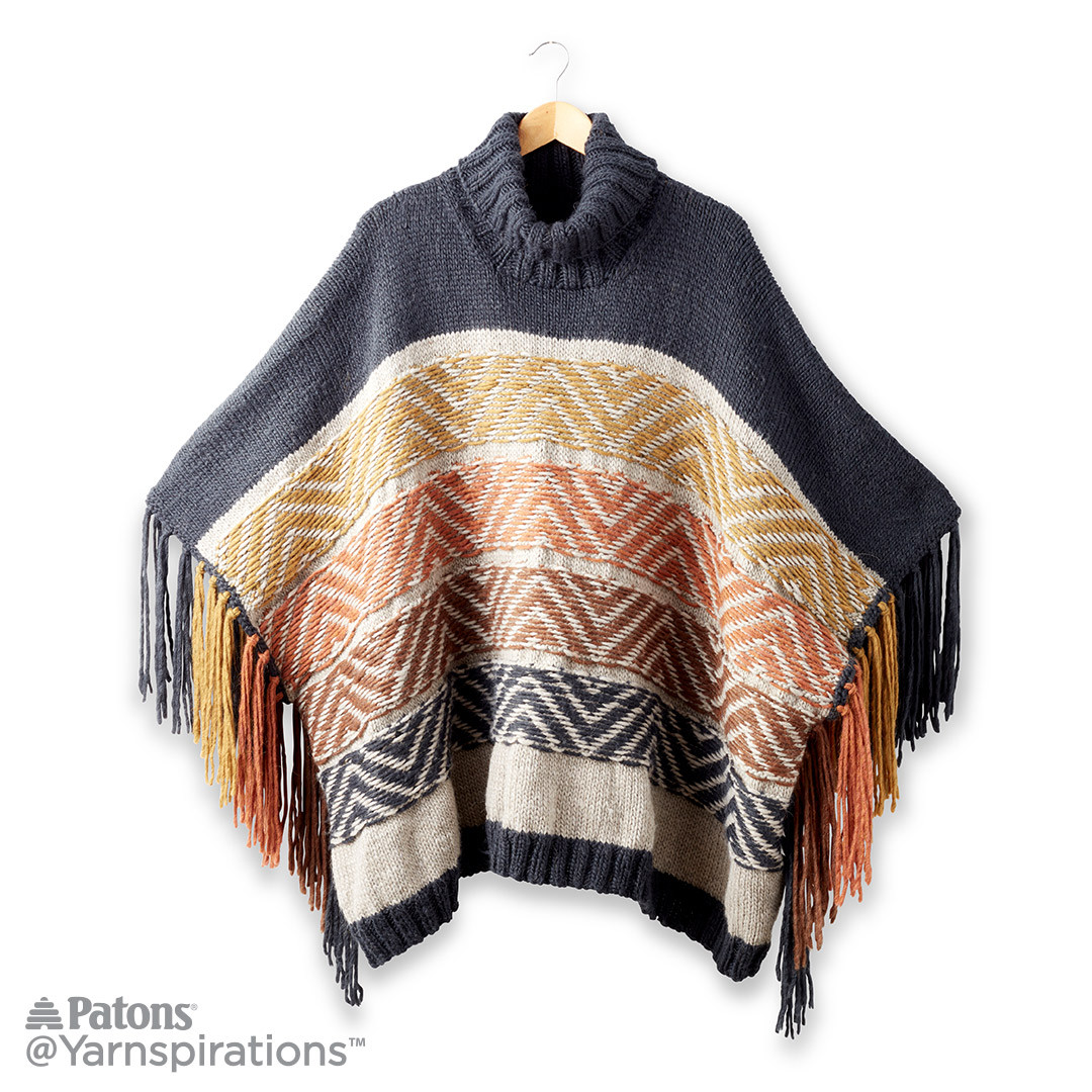 Fair Isle Knitting Kits Canada : Reverse fair isle knit poncho yarnspirations
