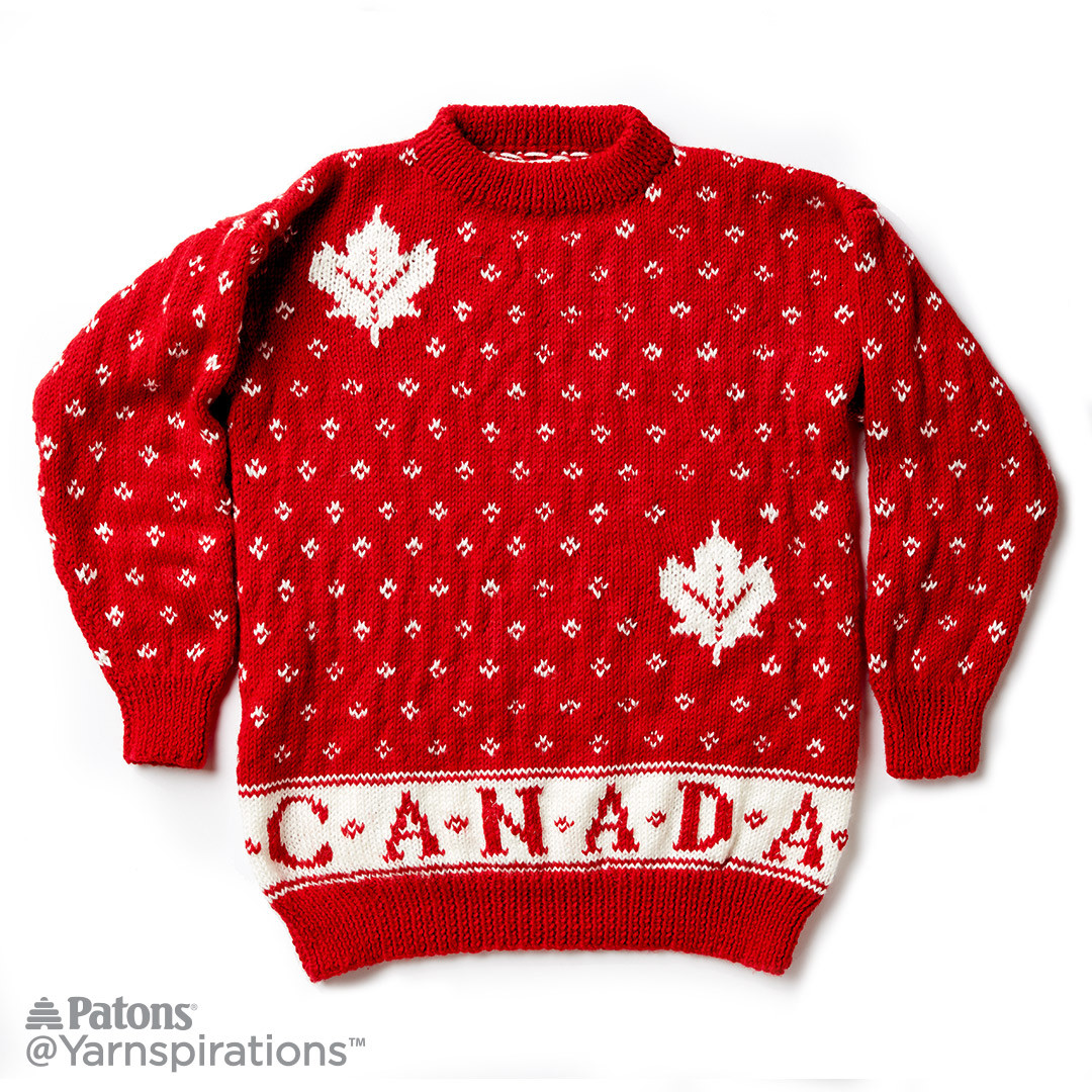 Canada Knit Adult Sweater, Knit Pattern, Patons | Yarnspirations