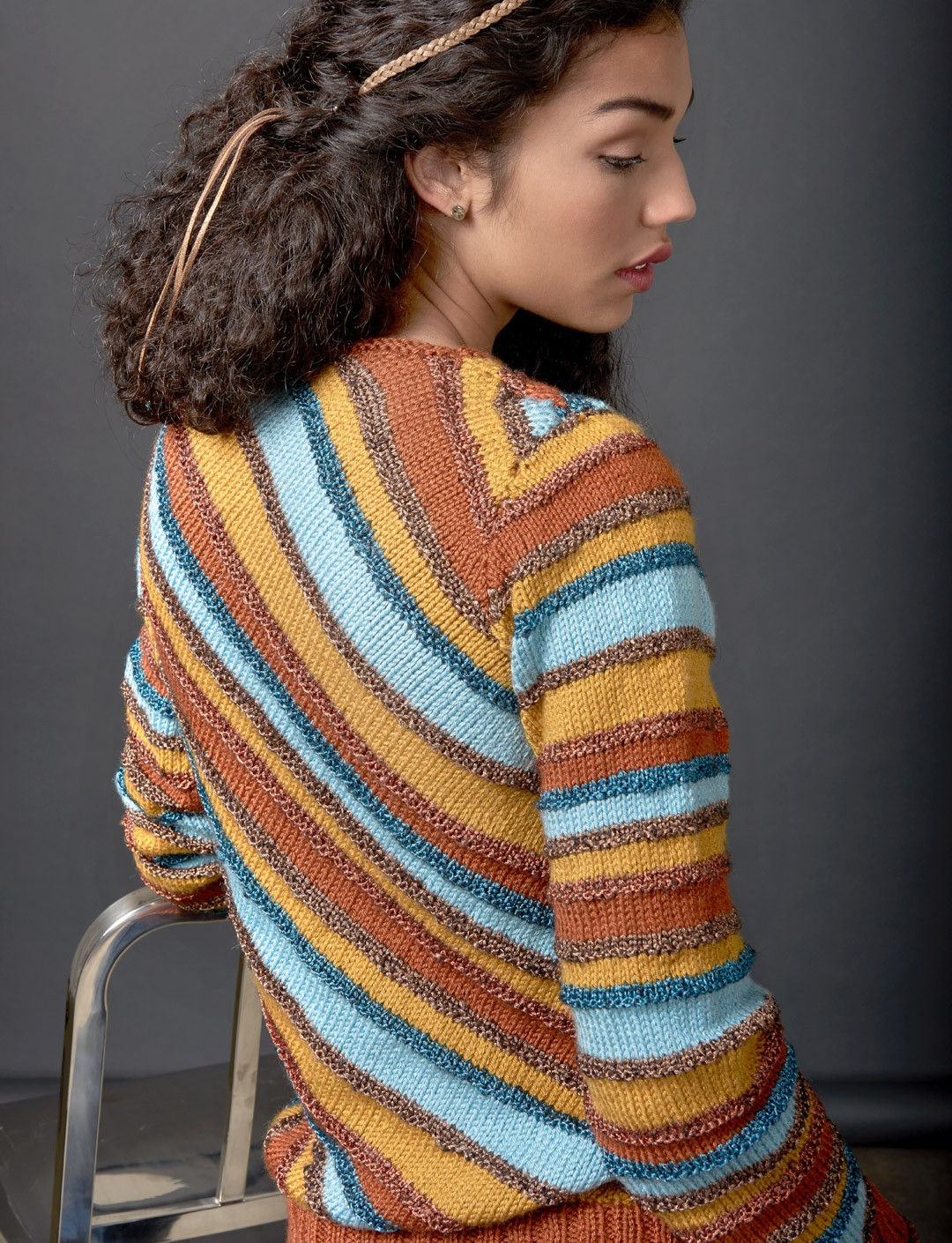 Knitting Pattern Striped Sweater : Patons Diagonal Stripes Sweater, Knit Pattern Yarnspirations