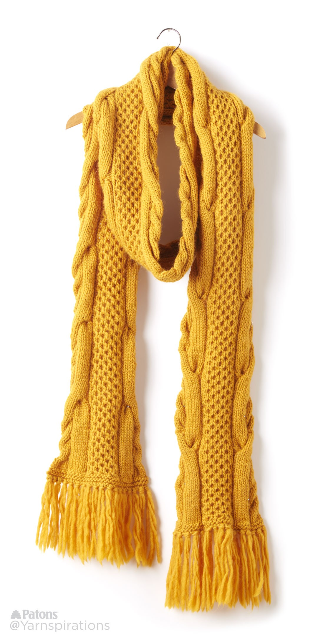 Free Knitting Pattern For Twisted Scarf : Patons Honey Comb Twist Knit Super Scarf, Knit Pattern Yarnspirations