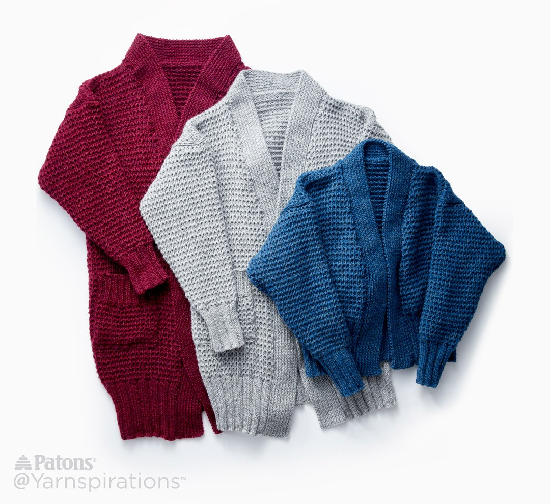 Knitting Pattern Weekend Cardigan : Patons Long Weekend Knit Cardigan, Knit Pattern Yarnspirations