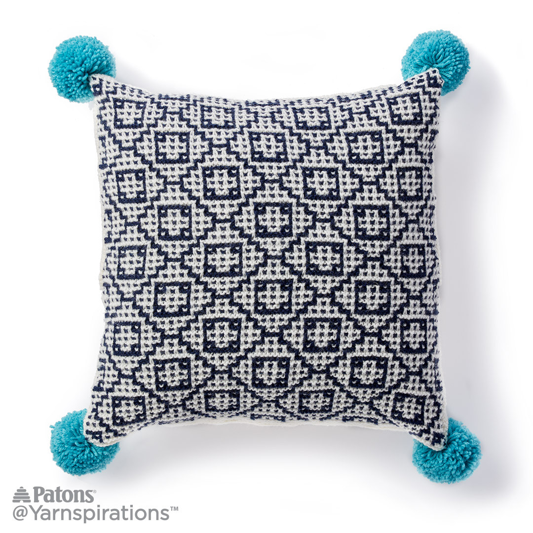 Mosaic Knit Pompom Pillow