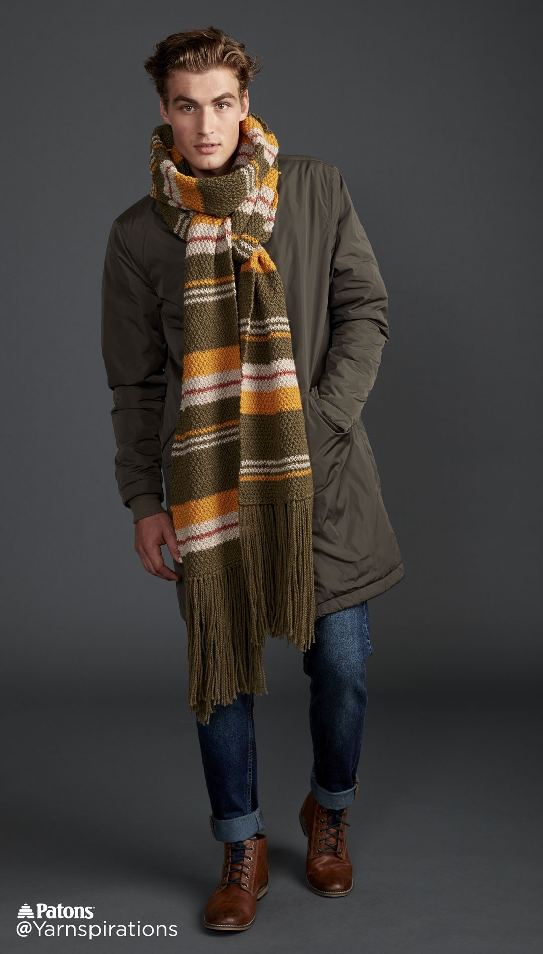 Moss Stripe Knit Super Scarf