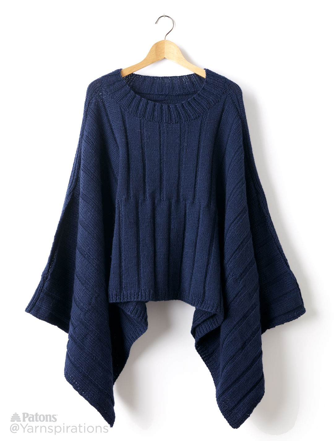 Patons Reversible Ribbed Knit Poncho, Knit Pattern ...